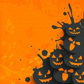 Flyer, poster or banner for Halloween Dance Party on grungy orange background with scary pumpkins.
