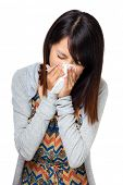 stock photo of sneezing  - Sneezing woman - JPG