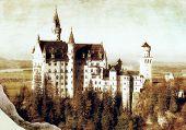 German castl - picture in retro style