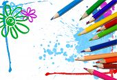 art background with crayons