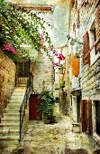courtyard of old Croatia - picture in painting style