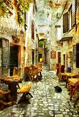 streets of old Croatia - picture in artistic retro style