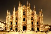 Milan cathedral  - italian landmarks series-artistic toned picture poster