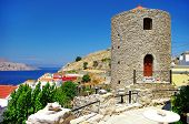 beautiful Greece - pictorial view with windmil of Symi island