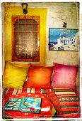 Colors of Greece series - traditional tavernas-artistic picture