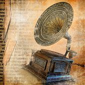 vintage paper background with  gramophone