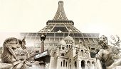 great Parisian landmarks - touristic collage