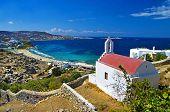 beautiful view with small church on Mykonos island, Greece