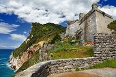 pictorial Italy series - Portovenere. castle on cliff
