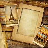 vintage travel background with blank page for text or your photo