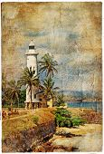 light house, Sri lanka, Galle. artistic retro picture