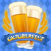 Oktoberfest celebration vector background with two beer mugs.