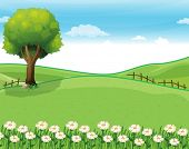 stock photo of ecosystem  - Illustration of a hilltop with a garden and a giant tree - JPG