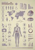 Medical infographics. Presentation set. Human body with internal organs plus buttons. Diagram (graph