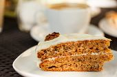 foto of sponge-cake  - carrot cake with coffee - JPG