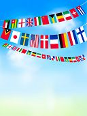 picture of israel people  - World bunting flags on blue sky - JPG