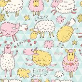 stock photo of counting sheep  - Funny cartoon sheep in the sky  - JPG