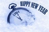 stock photo of life events  - Pocket watch in snow Happy New Year 2014 greeting card - JPG