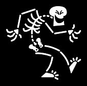 foto of maliciousness  - Evil Skeleton shrinking and bending down its body while having fun and laughing maliciously - JPG