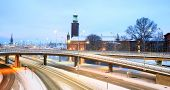 Panorama Landscape of Stockholm Cityhall at dusk with transportation light trail Sweden