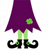 Retro Halloween Witch Legs Isolated On White ( Green And Purple )
