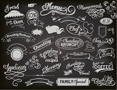 Chalkboard Ads, including banners, frames, labels, swirls and advertisements for restaurant, coffee