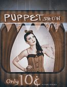 Vintage Pinup Girl Inside A Puppet Show Booth
