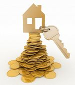 3d house symbol with key on Pile of gold coins. Conception of growth of mortgage credit