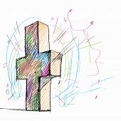Sketch image of cross against white background