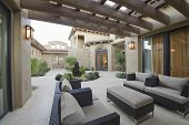 stock photo of hacienda  - View of an outdoor room of a modern home - JPG