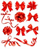 stock photo of ribbon bow  - Big set of red gift bows with ribbons - JPG