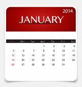 Simple 2014 calendar, January. Vector illustration.