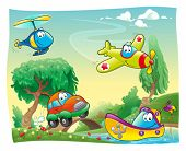 Funny vehicles in the countryside. Cartoon and vector illustration.