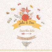 Stylish Save the Date card made of cute birds, butterflies and flowers in vector. Vintage summer background in bright colors