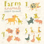 Farm animals. Learn to count part one. 1 cow, 2 horses, 3 dogs, 4 pigs, 5 geese. Funny cartoon childish illustrations in vector. Easy to learn figures with fun