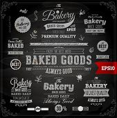 Set of vintage chalkboard bakery logo badges and labels for retro design