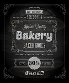 Bakery Label Poster, Chalk Typographic Design. Vector