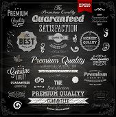 Retro elements collection for calligraphic designs | Vintage ornaments | Premium Quality labels | Guaranteed and Genuine labels | Chalkboard | eps10 vector set