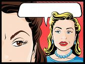 stock photo of 1950s style  - Vector illustration of Pop Art Style Comic book women gossiping behind each others backs - JPG