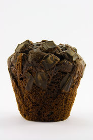 image of chocolate muffin  - Single dark chocolate muffin with a white background - JPG