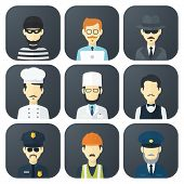 stock photo of policeman  - Set of App Flat Icons with Man of Different Professions - JPG