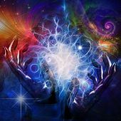 stock photo of aura  - Hands manipulate space time and matter - JPG