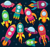 Vector Collection of Cartoon Rocketships
