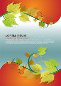 Fresh summer or autumn vector background with leaves. Can be use as poster, flyer, cover or brochure design.