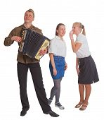 picture of accordion  - Two girls and a guy with an accordion in a soldier - JPG