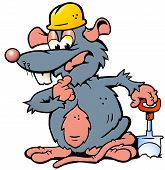 Hand-drawn Vector Illustration Of An Rat Holding A Spade