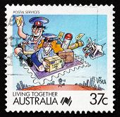 Postage Stamp Australia 1988 Postal Services, Living Together