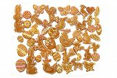 stock photo of ginger bread  - easter ginger breads isolated on the white background - JPG