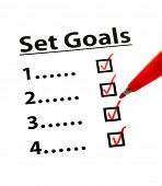 stock photo of goal setting  - Set Goal with check box - JPG