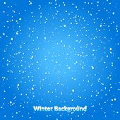 Falling Snow. Blue Winter Background